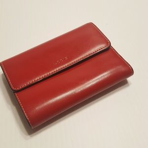 Lodis Tri-fold Red Leather Wallet.